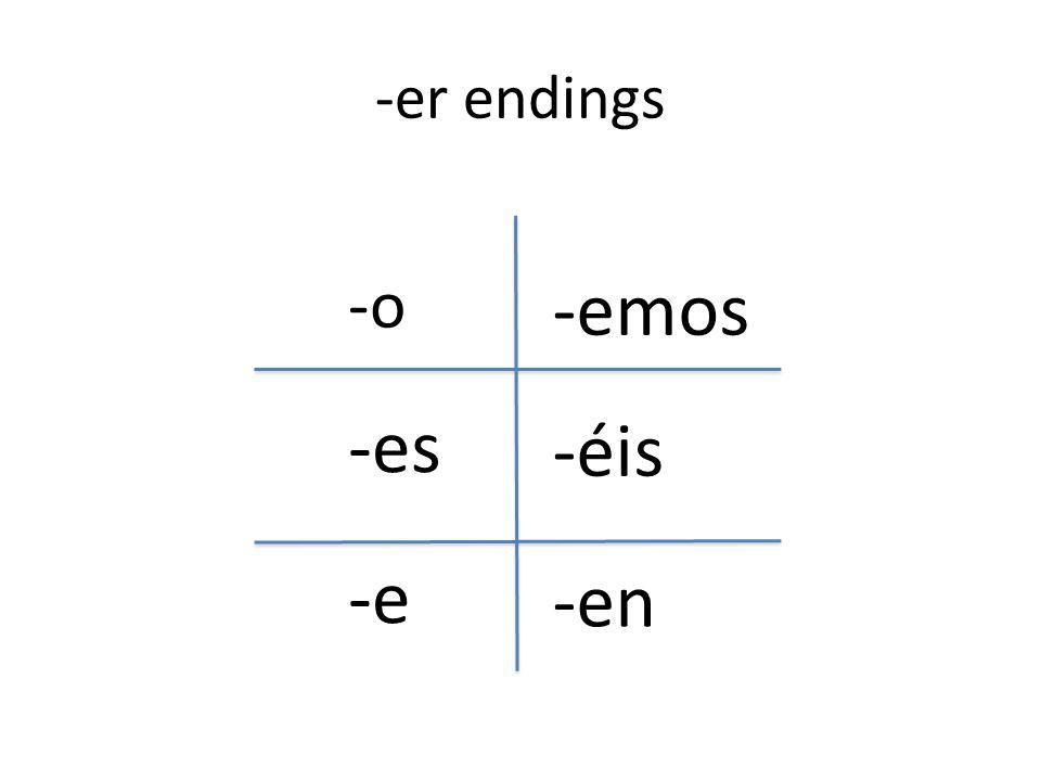 -er endings -o -es -e -emos -éis -en