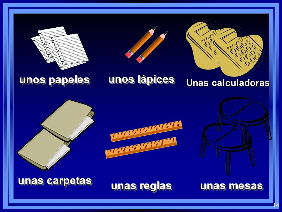 13 ¿Cuál es? Which indefinite article (some) would you use with the following vocab words? Plural unos, unas