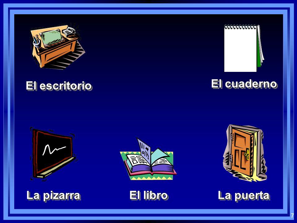 7 El escritorio El cuaderno La pizarra El libro La puerta