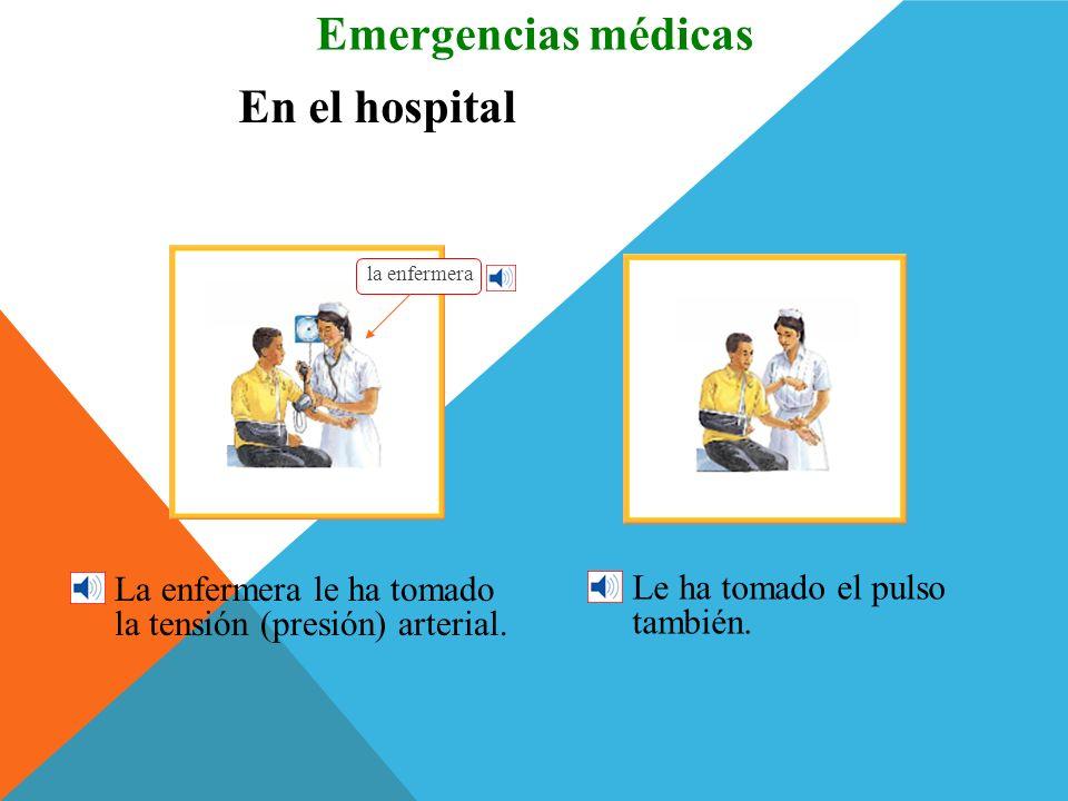 En el hospital José ha llenado un formulario. Emergencias médicas Lo ha llenado en la recepción. la recepción el formulario las muletas la silla de ru