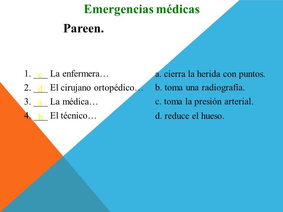 En el hospital Emergencias médicas Los dos jóvenes están enfermos. El uno está tan enfermo como el otro. José tiene tantos dolores como Paco.