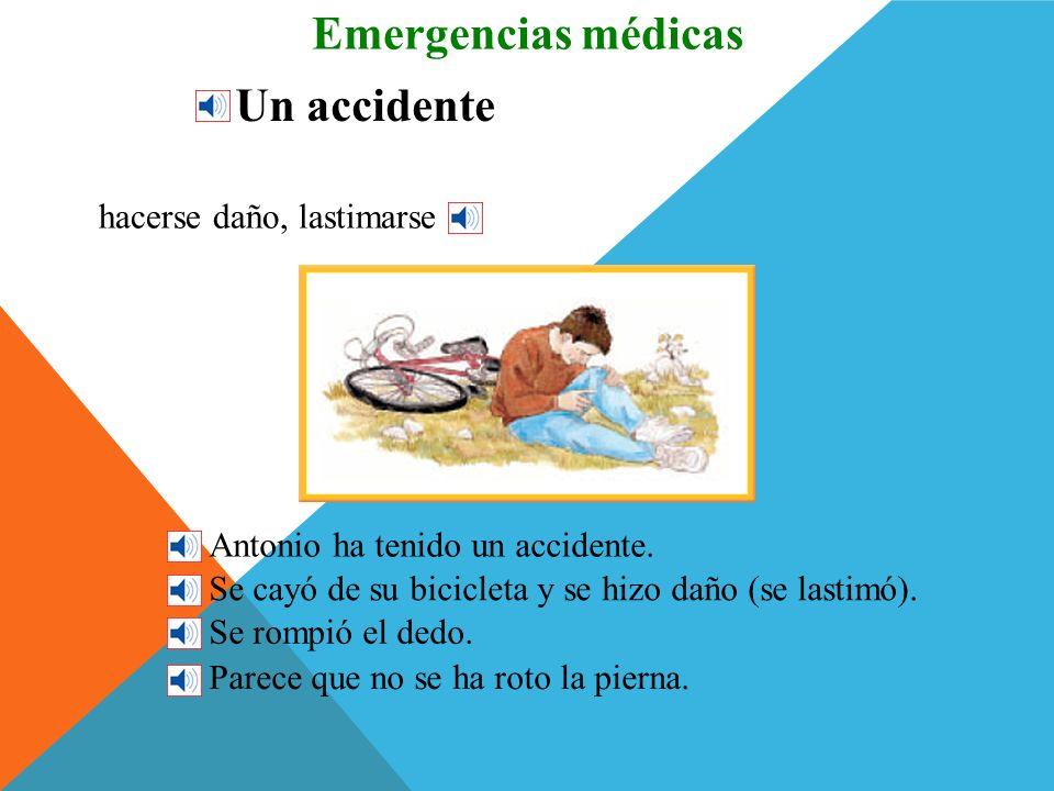 Más partes del cuerpo Emergencias médicas el cuello el hombro el pecho el codo el brazo el dedo la rodilla la muñeca la pierna el tobillo el pie
