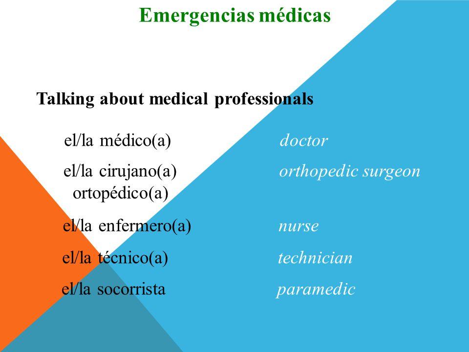 la recepciónadmissions (hospital) Talking about medical emergencies and a hospital Vocabulario Emergencias médicas la silla de ruedas wheelchair las m