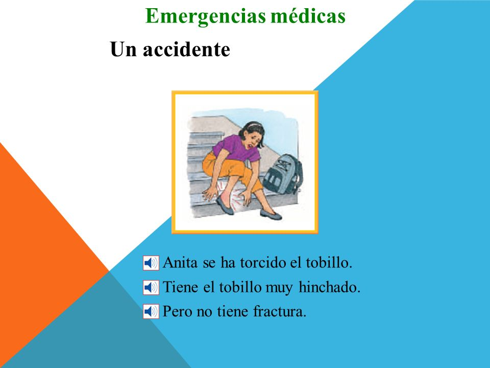 Un accidente Emergencias médicas Antonio ha tenido un accidente. Se cayó de su bicicleta y se hizo daño (se lastimó). Se rompió el dedo. Parece que no
