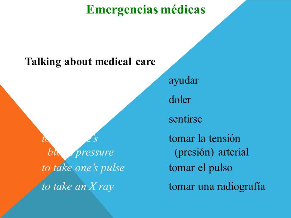 una fracturafracture Talking about medical problems Vocabulario Emergencias médicas una heridawound una picadurabite (insect) el dolorpain hinchado(a)