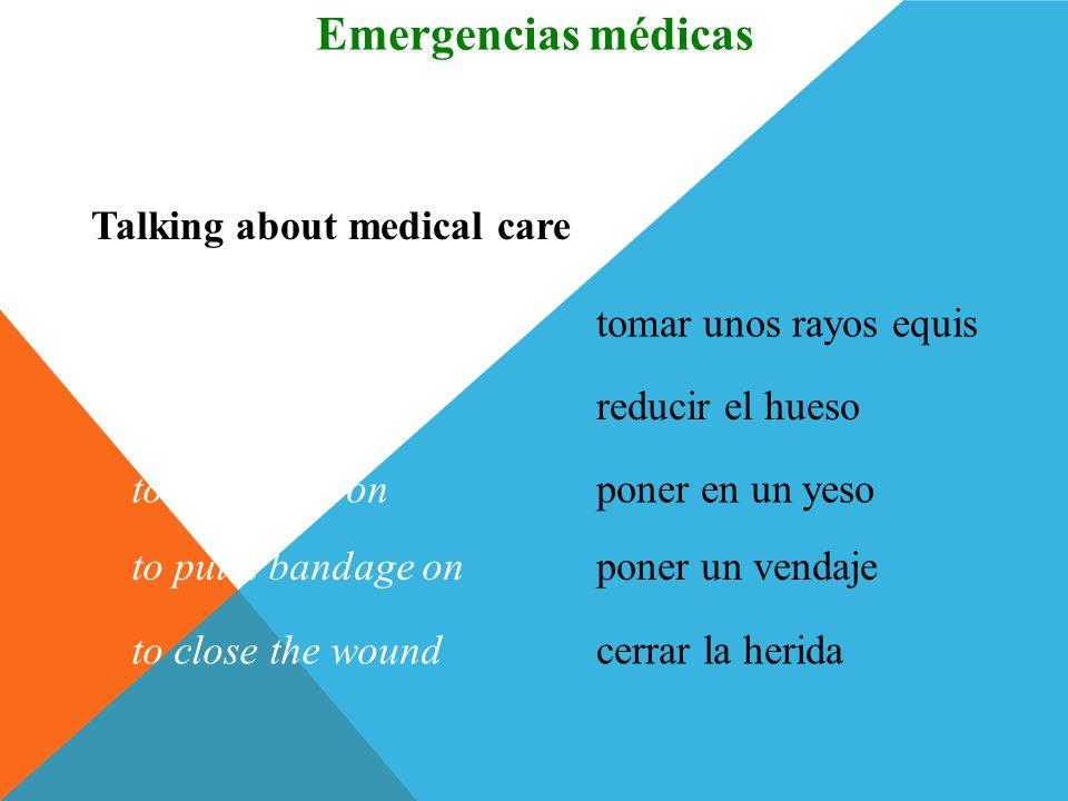 ayudarto help Talking about medical care Vocabulario Emergencias médicas dolerto hurt sentirseto feel tomar la tensión (presión) arterial to take ones