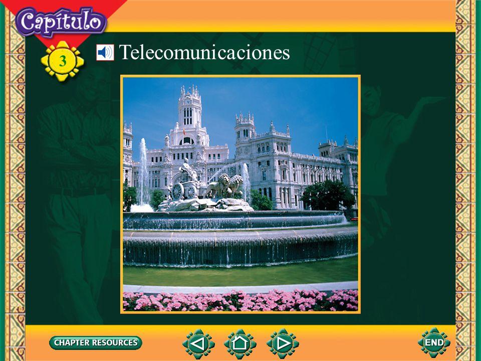 3 Vocabulario Telecomunicaciones Describing computer activities comunicarseto communicate with each other terminarto finish apagarto shut off sacarto take out (English-Spanish)