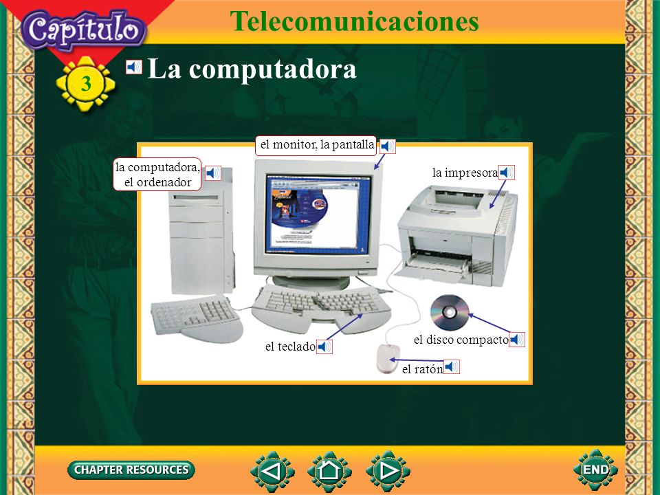3 La computadora Telecomunicaciones la impresora el disco compacto el ratón el teclado la computadora, el ordenador el monitor, la pantalla