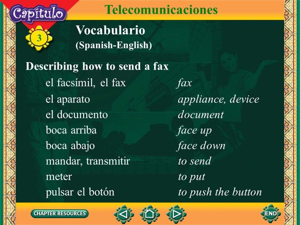 3 Vocabulario Describing computer activities Telecomunicaciones comunicarseto communicate with each other terminarto finish apagarto shut off sacarto