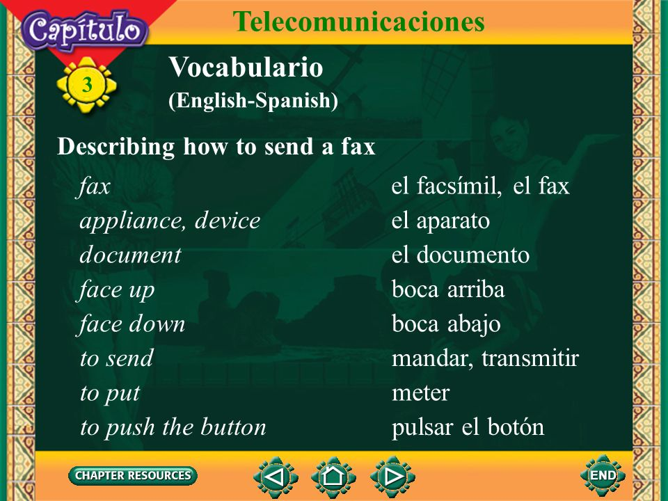 3 Vocabulario Telecomunicaciones Describing computer activities comunicarseto communicate with each other terminarto finish apagarto shut off sacarto