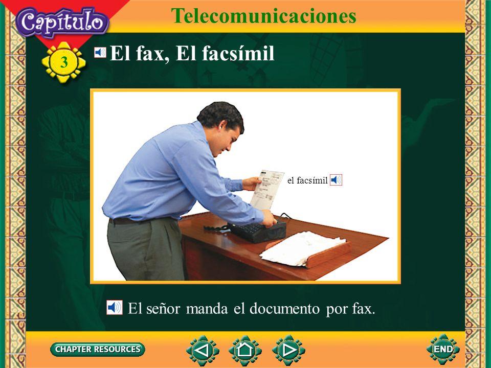 3 El fax, El facsímil El señor manda el documento por fax. Telecomunicaciones el facsímil