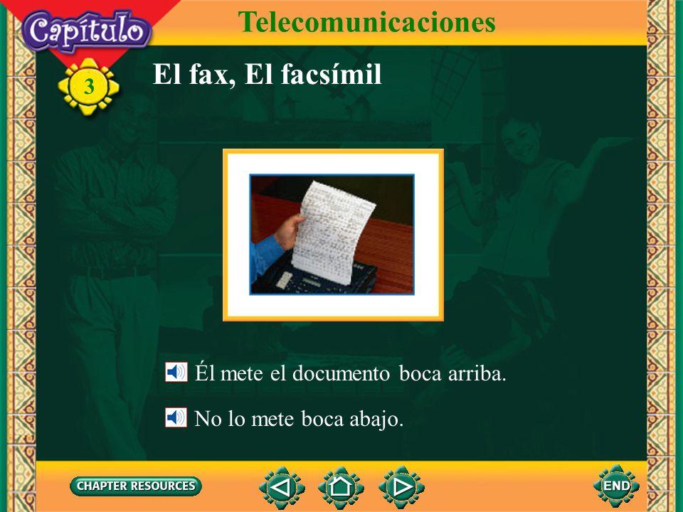 3 El teléfono Telecomunicaciones Él espera el tono. Cuando oye el tono, él marca el número.