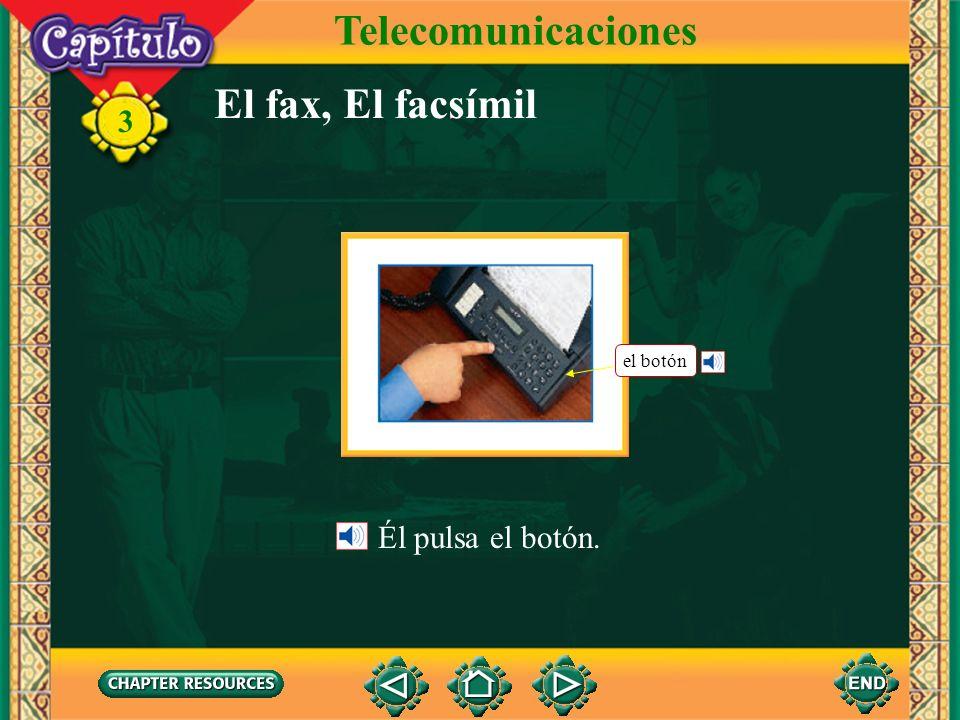 3 El fax, El facsímil Él pulsa el botón. Telecomunicaciones el botón
