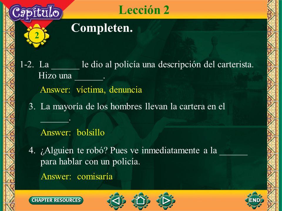 2 Más vocabulario la comisaría oficina de la policía Lección 2