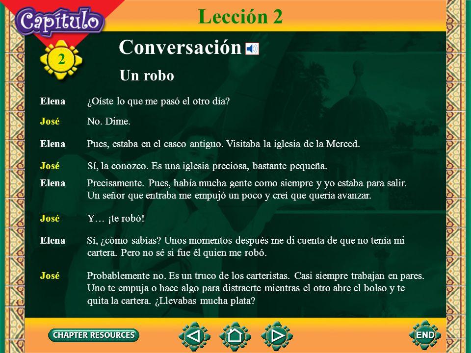 2 Conversación Un robo Lección 2