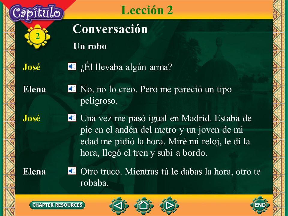 2 Conversación José Y… ¡te robó! Elena Sí, ¿cómo sabías? Unos momentos después me di cuenta de que no tenía mi cartera. Pero no sé si fue él quien me