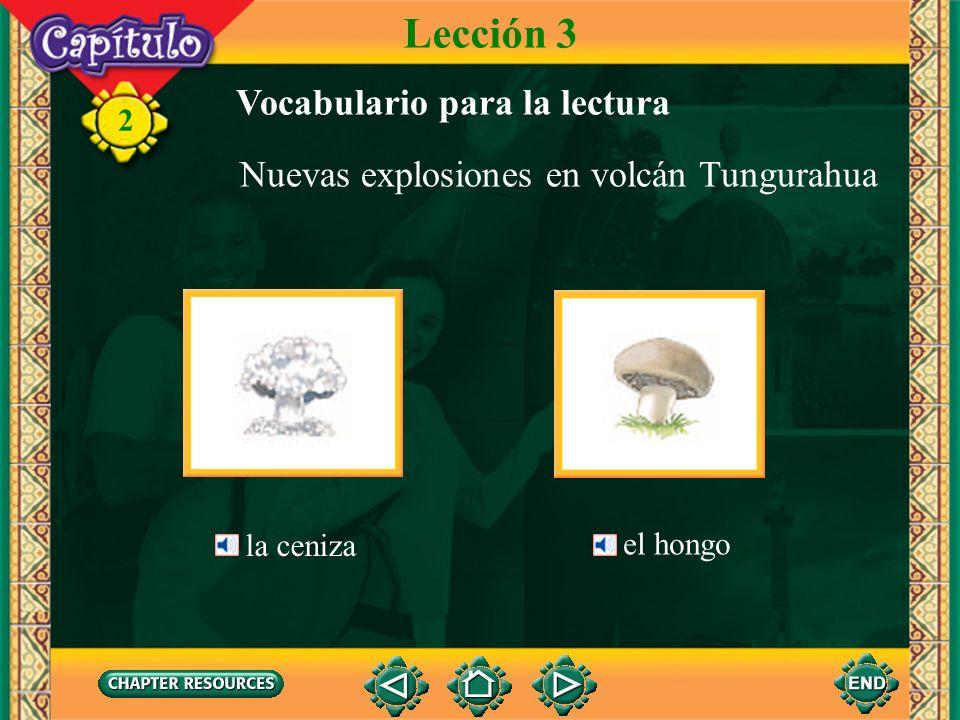 2 Nuevas explosiones en volcán Tungurahua Lección 3 Vocabulario para la lectura el volcán Es probable que haya una erupción volcánica. Los habitantes