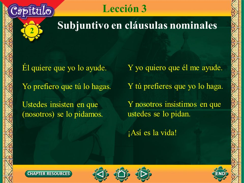 2 Note that the use of the subjunctive is extremely logical in Spanish. Whether one desires, hopes, prefers, demands, or insists that another person d