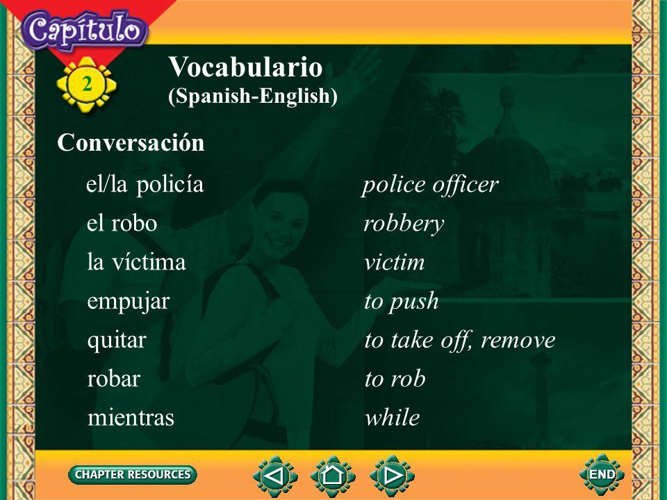 2 el bolsillopocket Conversación Vocabulario la carterawallet el/la carteristapickpocket la comisaríapolice station el crimencrime la denunciapolice r
