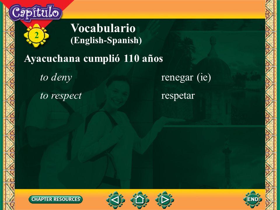 2 Vocabulario Ayacuchana cumplió 110 años el consejoadvice la sonrisasmile la viudawidow acogedorwelcoming (personality) agradablepleasant mayorelderl