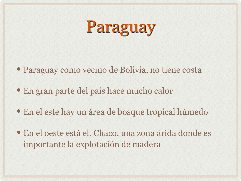 ParaguayParaguay Paraguay como vecino de Bolivia, no tiene costa En gran parte del país hace mucho calor En el este hay un área de bosque tropical húm