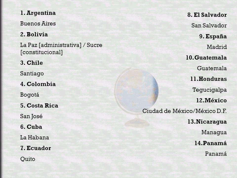 1.Argentina Buenos Aires 2. Bolivia La Paz [administrativa] / Sucre [constitucional] 3.