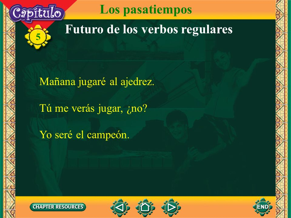 5 Futuro de los verbos regulares 1. The future tense is used to tell what will take place in the future. To form the future tense of regular verbs, yo