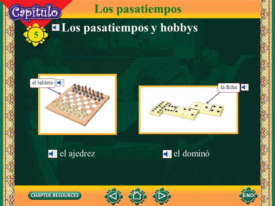 5 el globoballoon Talking about activities in the park Vocabulario Los pasatiempos el heladoice cream la piraguacrushed ice with syrup over it (Spanish-English)