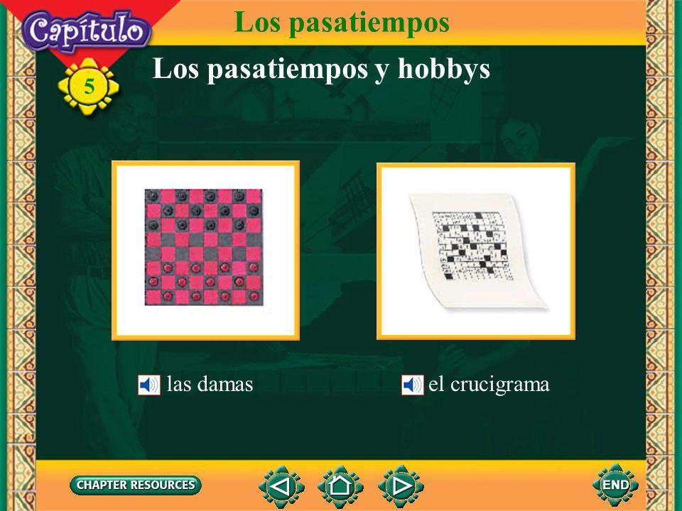 5 Vocabulario Los pasatiempos delante dein front of Giving location detrás dein back of al lado denext to a la derechato the right a la izquierdato the left (English-Spanish)