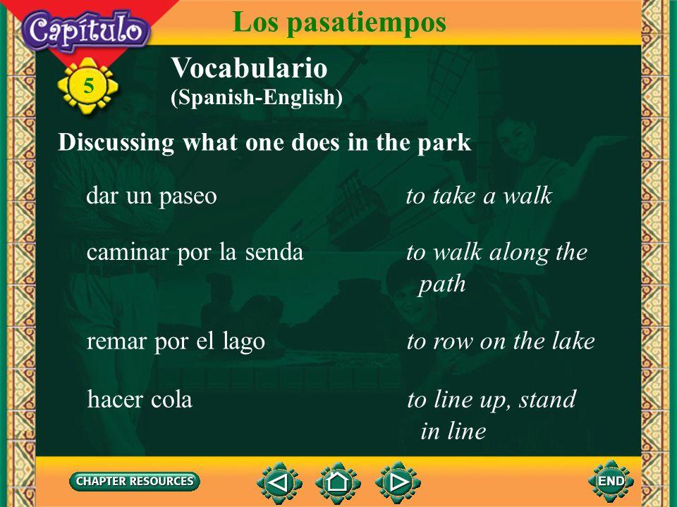 5 el globoballoon Talking about activities in the park Vocabulario Los pasatiempos el heladoice cream la piraguacrushed ice with syrup over it (Spanis