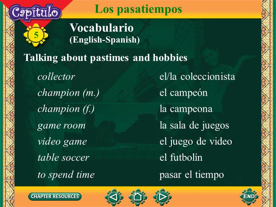 5 Vocabulario (English-Spanish) Los pasatiempos Talking about pastimes and hobbies el pasatiempopastime, hobby el hobbyhobby el ajedrezchess el tabler