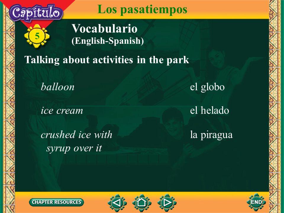 5 Vocabulario Los pasatiempos el tiovivomerry-go-round Talking about activities in the park el caballitocarousel horse la montaña rusaroller coaster l