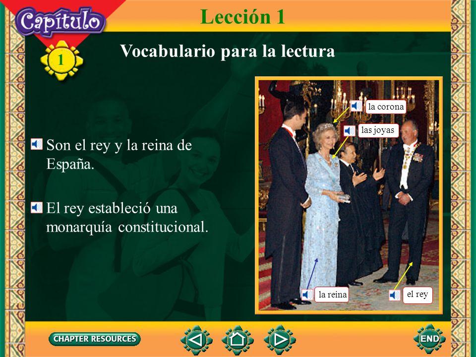 1 Son el rey y la reina de España.El rey estableció una monarquía constitucional.