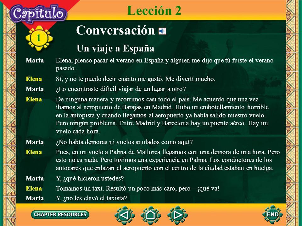 1 Conversación Un viaje a España Lección 2