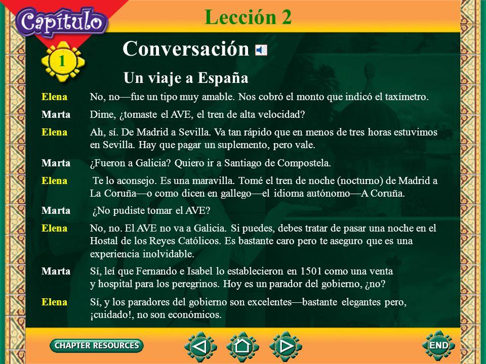 11 Conversación MartaElena, pienso pasar el verano en España y alguien me dijo que tú fuiste el verano pasado. Elena Sí, y no te puedo decir cuánto me