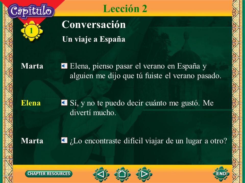 11 Conversación Marta Dime, ¿tomaste el AVE, el tren de alta velocidad? Elena Ah, sí. De Madrid a Sevilla. Va tan rápido que en menos de tres horas es