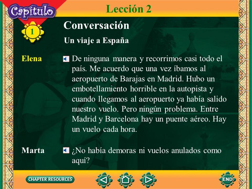 11 Conversación Marta Elena, pienso pasar el verano en España y alguien me dijo que tú fuiste el verano pasado. Elena Sí, y no te puedo decir cuánto m