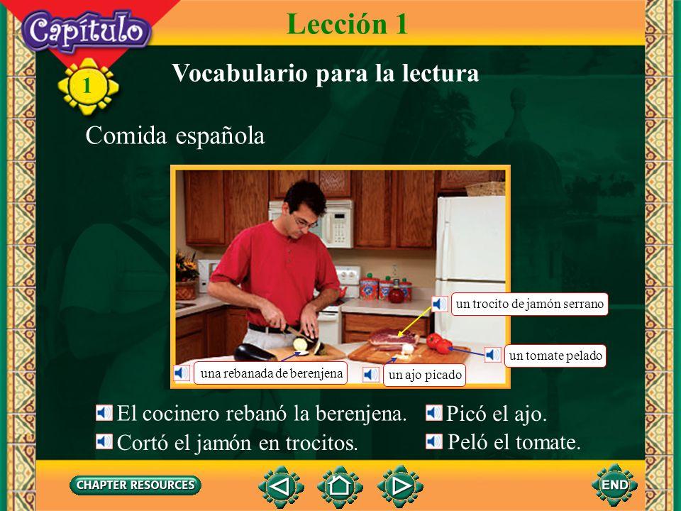 1 Vocabulario Comida el ajogarlic la almendraalmond la berenjenaeggplant el/la cocinero(a)cook (noun) el jamón serranocured ham el olivarolive grove la rebanadaslice (Spanish-English)