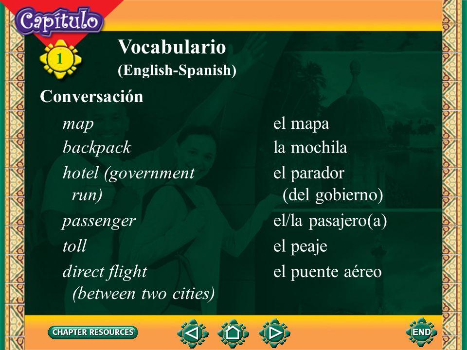 1 Vocabulario el aeropuertoairport el autocarairport shuttle la autopistahighway el/la conductor(a)driver la demora, el retrasodelay el embotellamient