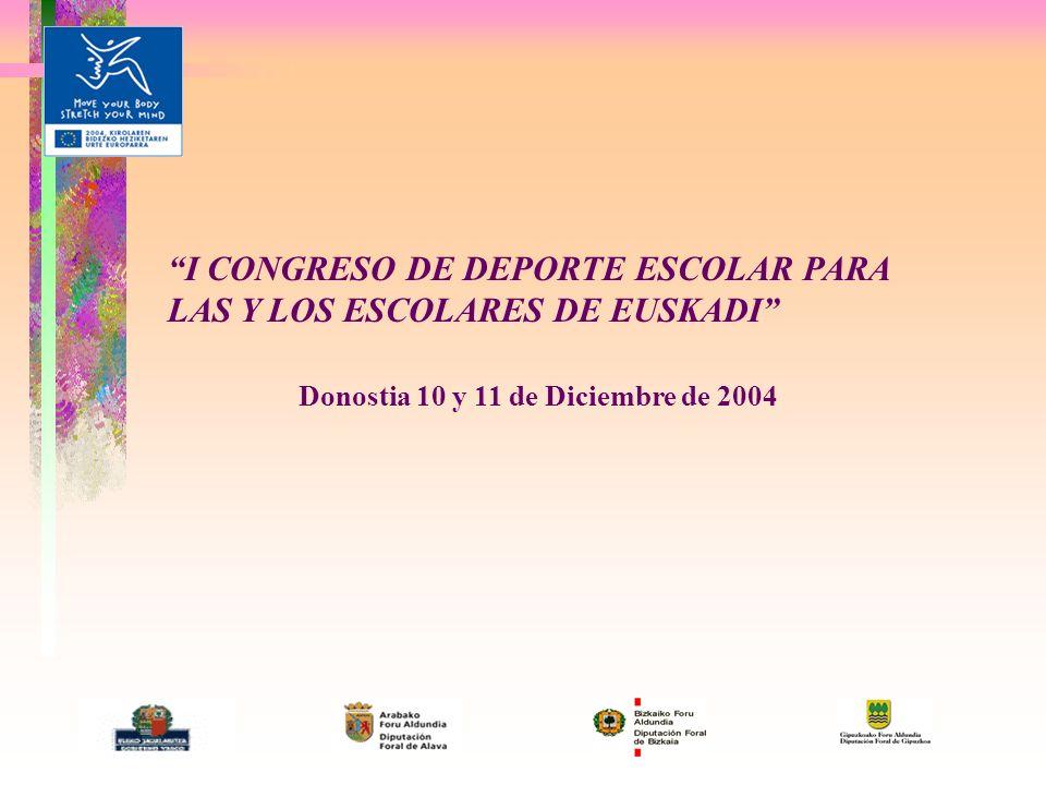 I CONGRESO DE DEPORTE ESCOLAR PARA LAS Y LOS ESCOLARES DE EUSKADI Donostia 10 y 11 de Diciembre de 2004