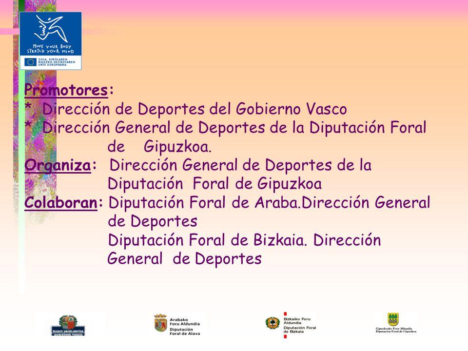 Promotores: * Dirección de Deportes del Gobierno Vasco * Dirección General de Deportes de la Diputación Foral de Gipuzkoa.