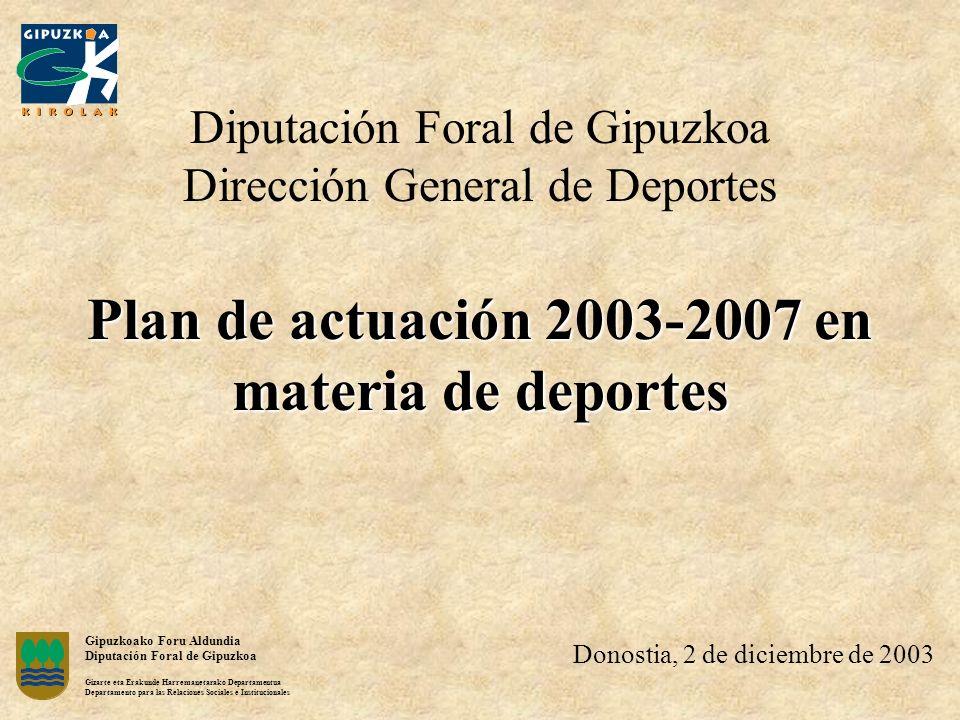 Plan de actuación 2003-2007 en materia de deportes Diputación Foral de Gipuzkoa Dirección General de Deportes Plan de actuación 2003-2007 en materia d