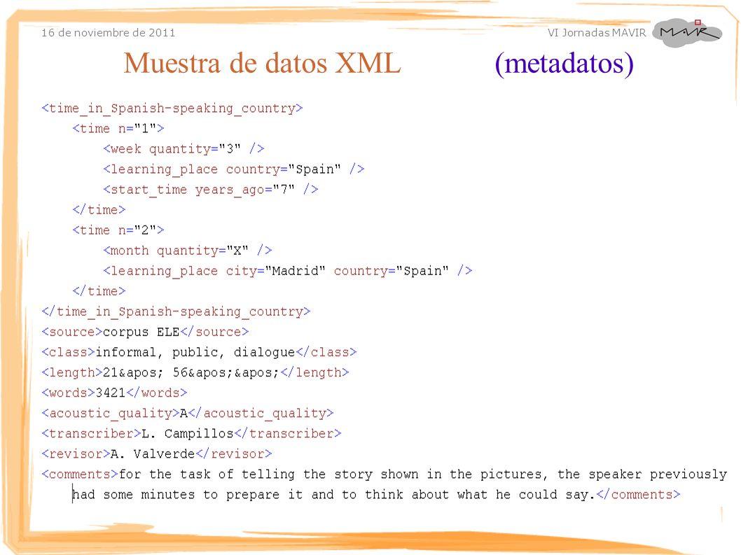 16 de noviembre de 2011 VI Jornadas MAVIR Muestra de datos XML (metadatos)