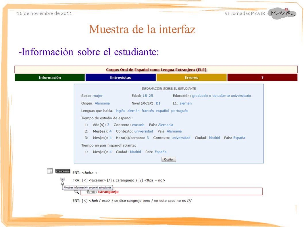 16 de noviembre de 2011 VI Jornadas MAVIR Muestra de la interfaz -Información sobre el estudiante: