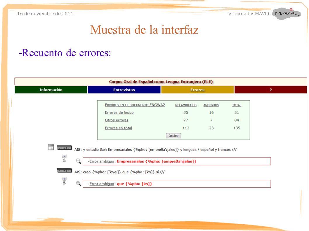 16 de noviembre de 2011 VI Jornadas MAVIR Muestra de la interfaz -Recuento de errores: