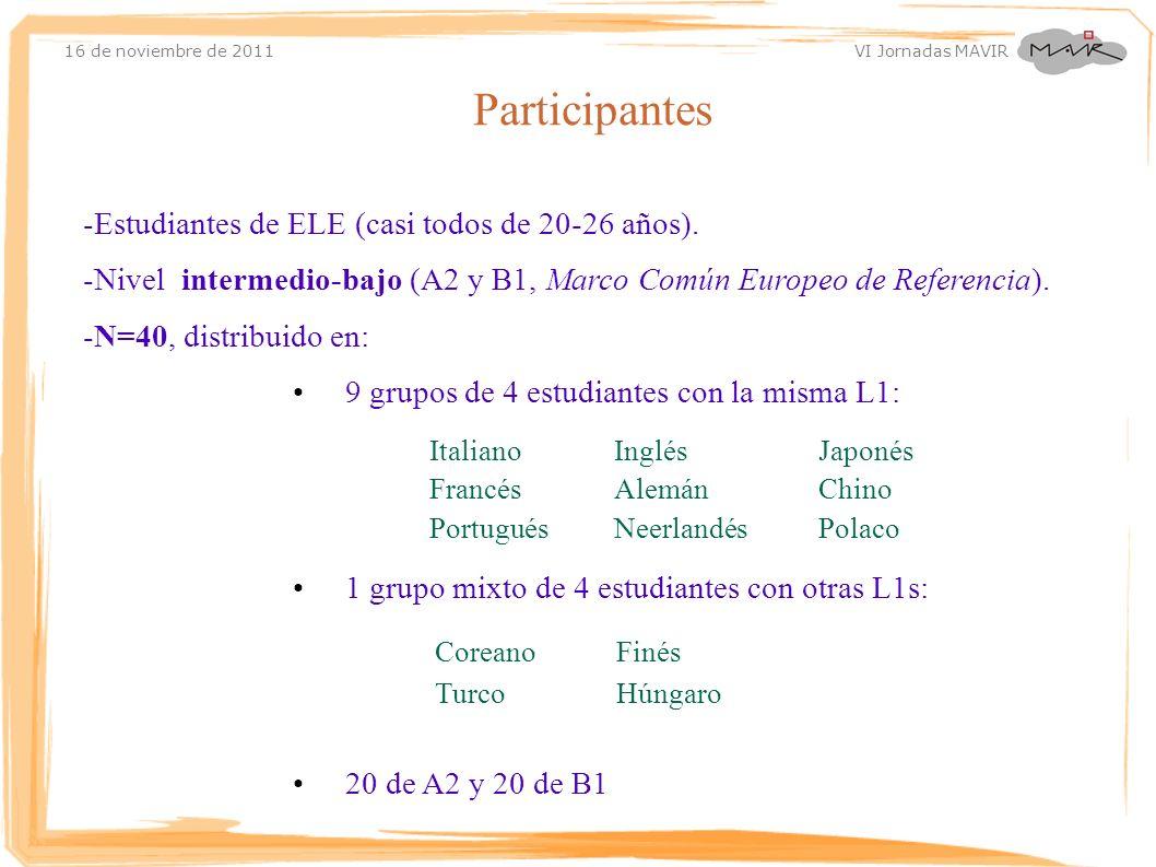 16 de noviembre de 2011 VI Jornadas MAVIR -Estudiantes de ELE (casi todos de 20-26 años). -Nivel intermedio-bajo (A2 y B1, Marco Común Europeo de Refe
