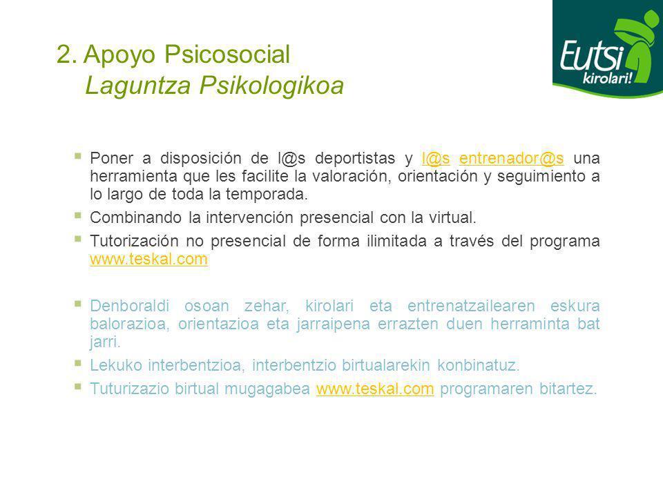 2. Apoyo Psicosocial Laguntza Psikologikoa Poner a disposición de l@s deportistas y l@s entrenador@s una herramienta que les facilite la valoración, o