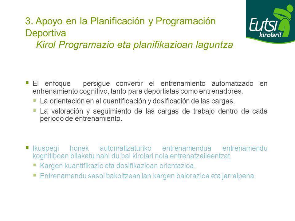 3. Apoyo en la Planificación y Programación Deportiva Kirol Programazio eta planifikazioan laguntza El enfoque persigue convertir el entrenamiento aut