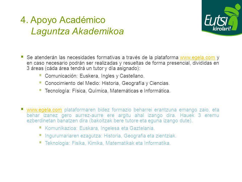 4. Apoyo Académico Laguntza Akademikoa Se atenderán las necesidades formativas a través de la plataforma www.egela.com y en caso necesario podrán ser