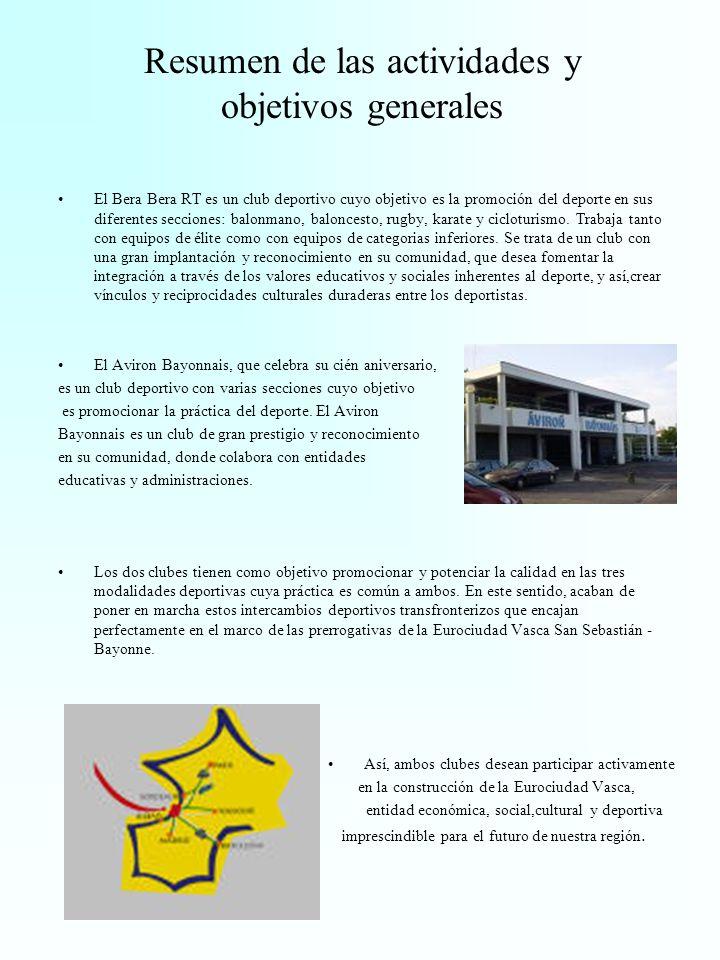Resumen de las actividades y objetivos generales El Bera Bera RT es un club deportivo cuyo objetivo es la promoción del deporte en sus diferentes secciones: balonmano, baloncesto, rugby, karate y cicloturismo.